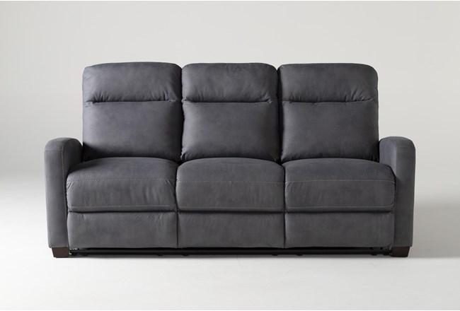"Jarrell Blue Grey 81"" Power Reclining Sofa With USB - 360"