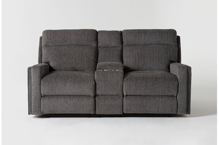 Hewitt Grey Power Reclining Console Loveseat With USB