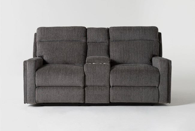 """Hewitt Grey 74"""" Power Reclining Console Loveseat With USB - 360"""
