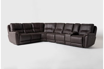 "Juniper 4 Piece 128"" Power Reclining Sectional With Right Arm Facing Console Loveseat"