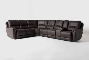 """Juniper 4 Piece 128"""" Power Reclining Sectional With Right Arm Facing Console Loveseat"""