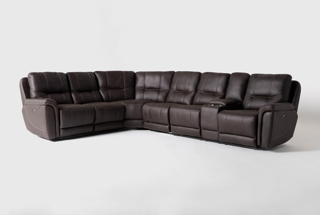 """Juniper 4 Piece 128"""" Power Reclining Sectional With Right Arm Facing Console Loveseat - 360"""