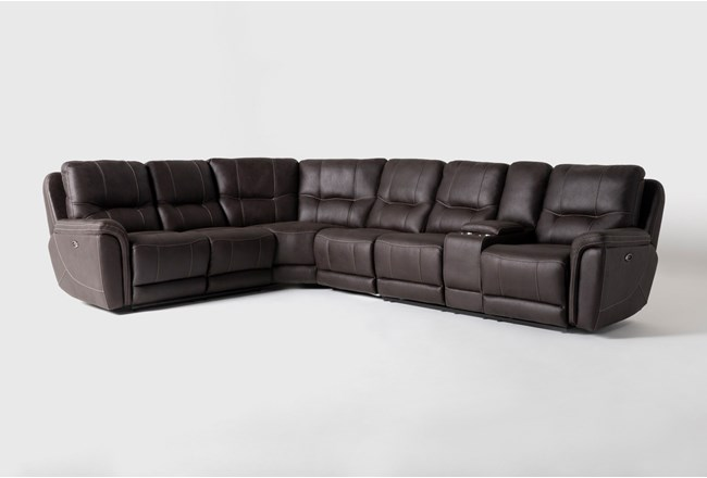 "Juniper 4 Piece 128"" Power Reclining Sectional With Right Arm Facing Console Loveseat - 360"