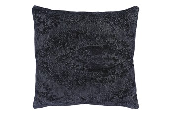 22X22 Midnight Blue Chenille Textured Pattern Throw Pillow
