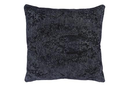 22X22 Midnight Blue Chenille Textured Pattern Throw Pillow - Main