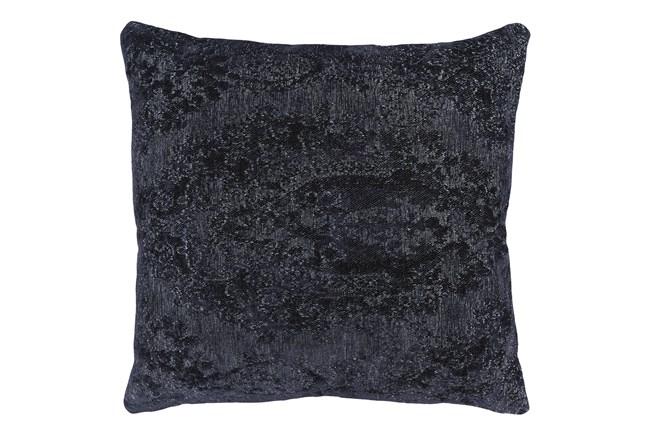 22X22 Midnight Blue Chenille Textured Pattern Throw Pillow - 360