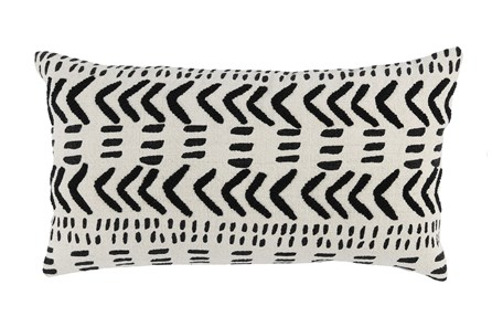 Accent Pillow-Black Mudcloth Embroidery 14X26 - Main