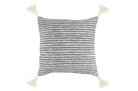Accent Pillow-Grey Knit Tassels 20X20