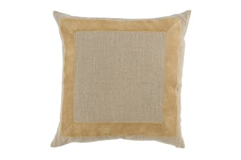 Accent Pillow-Wheat Leather Border 22X22