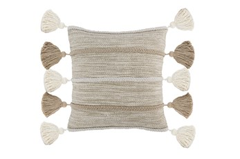 Accent Pillow-Natural And Ivory Knit Tassels 20X20
