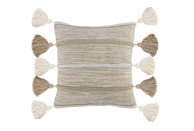 Accent Pillow-Natural And Ivory Knit Tassels 20X20 - 360