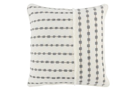 Accent Pillow-Grey Embridered Dots 20X20