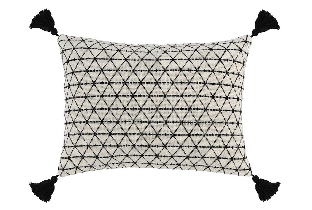 Accent Pillow-Black Geo Tassles 14X20