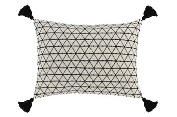 Accent Pillow-Black Geo Tassles 14X20