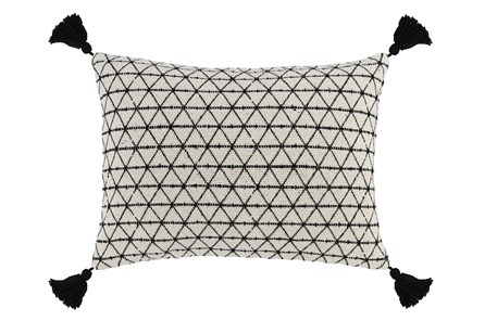 Accent Pillow-Black Geo Tassles 14X20 - Main