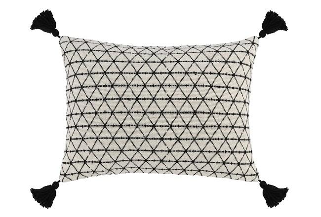 Accent Pillow-Black Geo Tassles 14X20 - 360