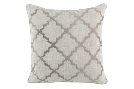 Accent Pillow-Grey Trellis Embroidery 22X22