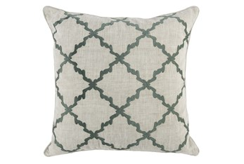 Accent Pillow-Bay Green Trellis Embroidery 22X22