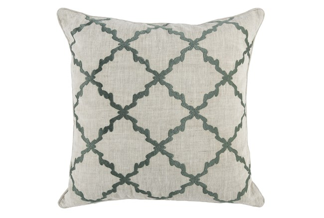 Accent Pillow-Bay Green Trellis Embroidery 22X22 - 360