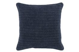 Accent Pillow-Midnight Blue Knit Stripes 22X22