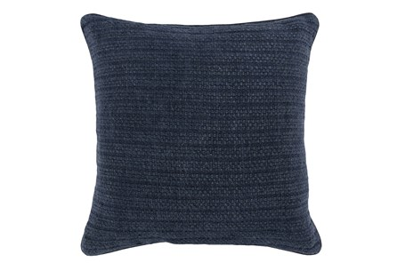 Accent Pillow-Midnight Blue Knit Stripes 22X22