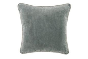 18X18 Bay Green Stonewashed Velvet Throw Pillow