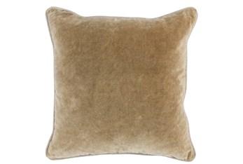 18X18  Wheat Stonewashed Velvet Throw Pillow