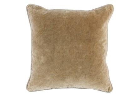 18X18  Wheat Stonewashed Velvet Throw Pillow - Main