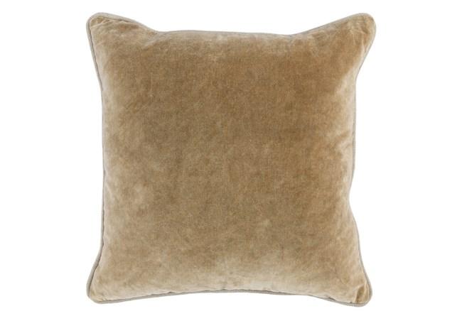 18X18  Wheat Stonewashed Velvet Throw Pillow - 360