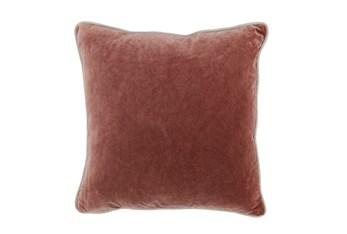 18X18  Red Clay Auburn  Stonewashed Velvet Throw Pillow