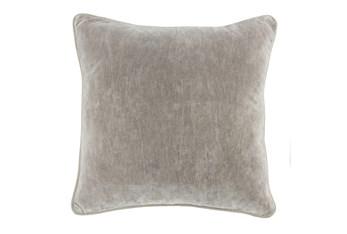 18X18 Silver Grey Stonewashed Velvet Throw Pillow