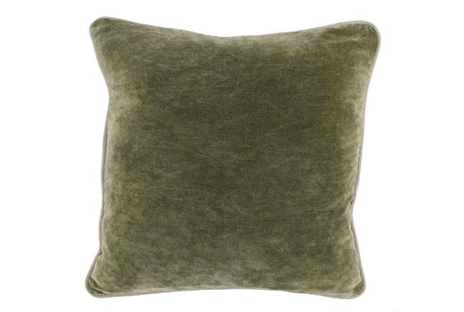 18X18  Moss Green Stonewashed Velvet Throw Pillow - 360