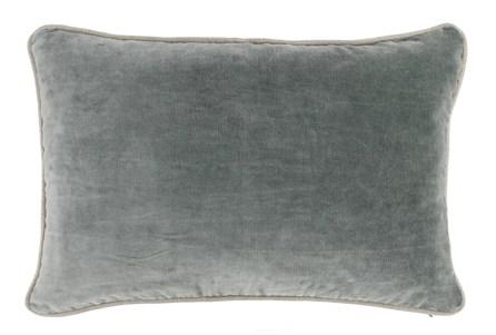 14X20 Bay Green Stonewashed Velvet Lumbar Throw Pillow - Main