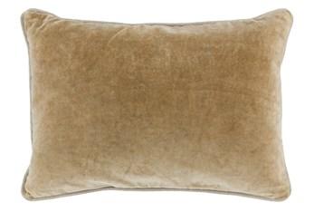 14X20 Wheat Stonewashed Velvet Lumbar Throw Pillow