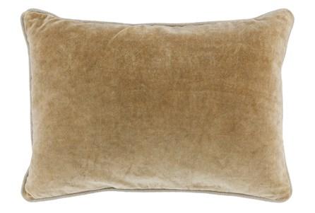 14X20 Wheat Stonewashed Velvet Lumbar Throw Pillow - Main