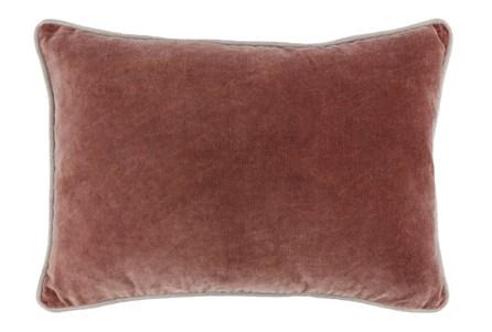 14X20 Red Clay Auburn  Stonewashed Velvet Lumbar Throw Pillow - Main