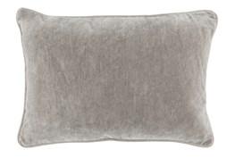 14X20 Silver Grey Stonewashed Velvet Lumbar Throw Pillow