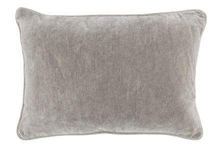 14X20 Silver Grey Stonewashed Velvet Lumbar Throw Pillow - Main