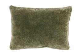 14X20 Moss Green Stonewashed Velvet Lumbar Throw Pillow