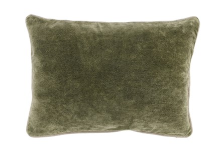 14X20 Moss Green Stonewashed Velvet Lumbar Throw Pillow - Main