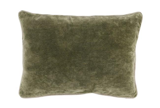 14X20 Moss Green Stonewashed Velvet Lumbar Throw Pillow - 360