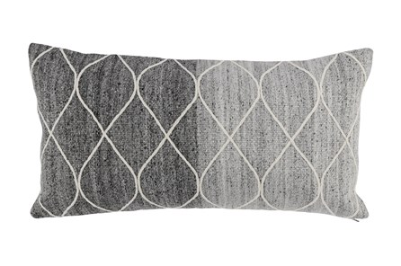Accent Pillow-Grey Ombre Knit Loops 14X26