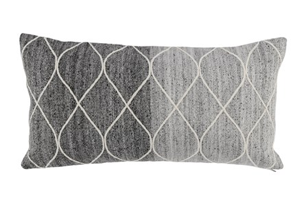 Accent Pillow-Grey Ombre Knit Loops 14X26 - Main