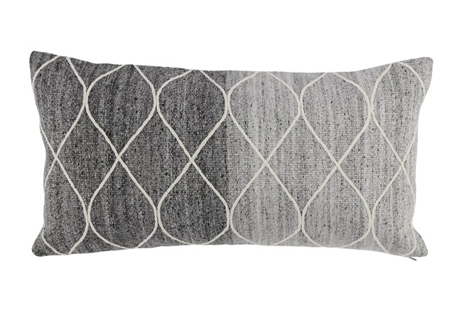 Accent Pillow-Grey Ombre Knit Loops 14X26 - 360