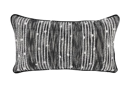 Accent Pillow-Black Nubby Stripes 14X26