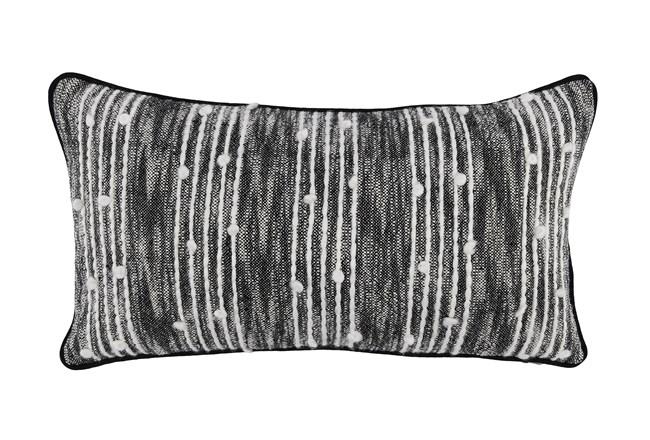 Accent Pillow-Black Nubby Stripes 14X26 - 360
