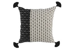 Accent Pillow-Black Banded Geo Tassels 20X20
