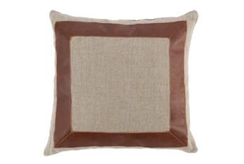 Accent Pillow-Cognac Leather Border 22X22