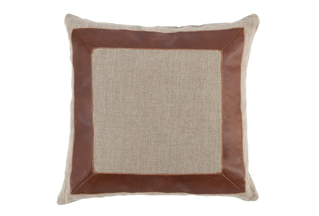 Accent Pillow-Cognac Leather Border 22X22 - 360