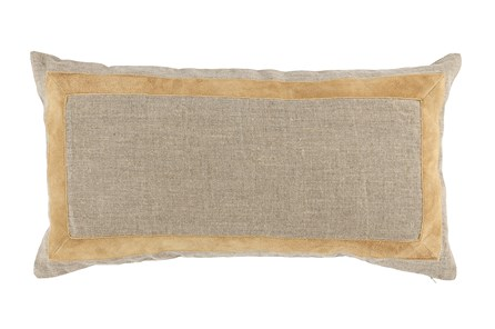 Accent Pillow-Wheat Leather Border 14X26